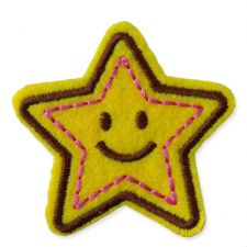 YELLOW BROWN SMILEY STAR MOTIF IRON ON EMBROIDERED PATCH APPLIQUE